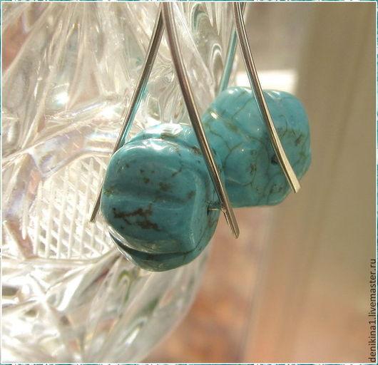 Серьги ручной работы. Ярмарка Мастеров - ручная работа. Купить Серебряные серьги с говлитом (925). Handmade. Голубой, серьги серебро