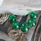 Материалы для творчества handmade. Livemaster - original item Green hollow beads 5 pieces. Handmade.