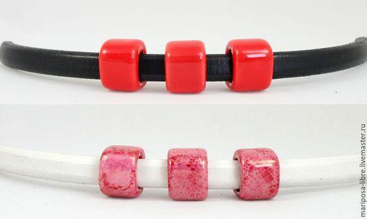 Для украшений ручной работы. Ярмарка Мастеров - ручная работа. Купить Бусина 10х7 крупная, красная и розовая. Handmade. бусина