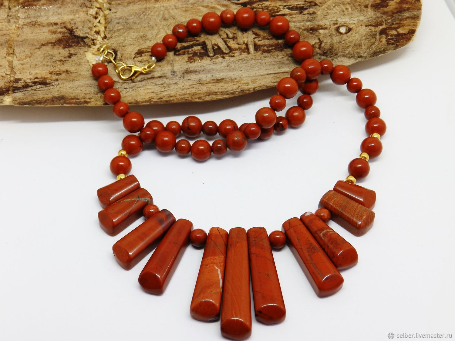 Necklace of red Jasper 52 cm, Necklace, Gatchina,  Фото №1