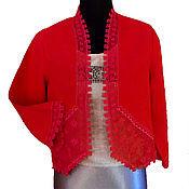 Одежда handmade. Livemaster - original item Bolero cherry Red. len. Strojeva embroidery, hemstitch. Handmade.