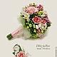 """Свадебные цветы ручной работы. Ярмарка Мастеров - ручная работа. Купить Свадебный букет и бутоньерка жениха  """"Фрезии и розовые розы"""". Handmade."""