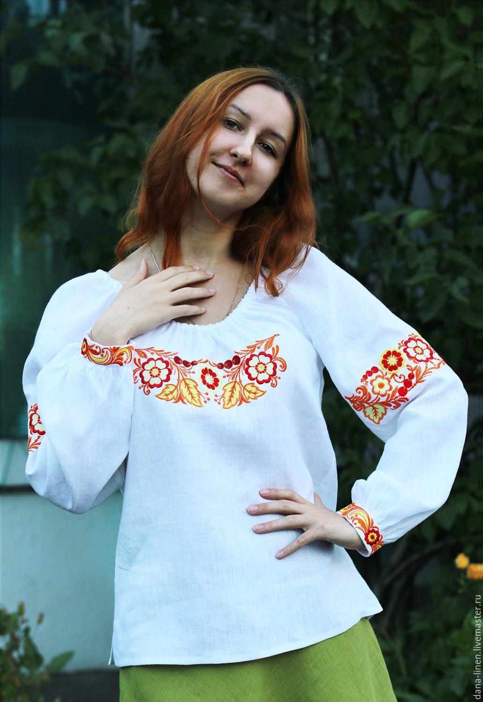 "Блуза льняная ""Калинка"" с вышивкой, Блузки, Москва, Фото №1"