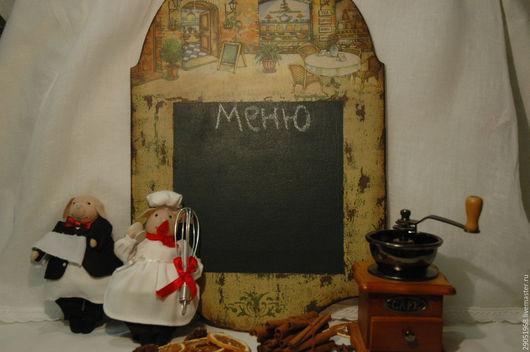 """Кухня ручной работы. Ярмарка Мастеров - ручная работа. Купить Грифельная доска """"CAFE"""". Handmade. Тёмно-зелёный, доска декупаж"""