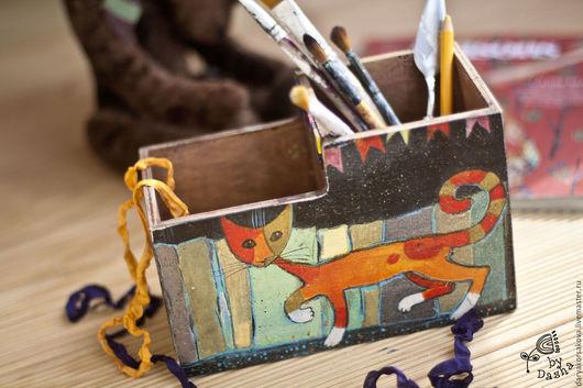 Карандашницы ручной работы. Ярмарка Мастеров - ручная работа. Купить Карандашница кошачья. Handmade. Комбинированный, Декупаж, акриловые краски и лак