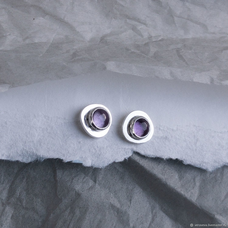 Серебряные серьги-гвоздики с аметистом, Серьги-пусеты, Санкт-Петербург,  Фото №1