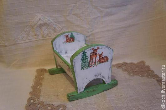 """Кукольный дом ручной работы. Ярмарка Мастеров - ручная работа. Купить Кроватка - качалка для куклы """"Оленята"""". Handmade. Белый, люлька"""