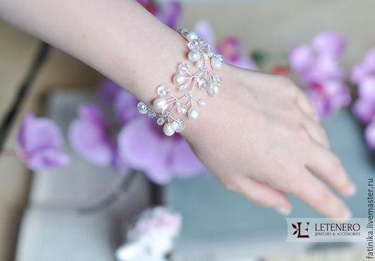 Свадебные украшения ручной работы. Ярмарка Мастеров - ручная работа. Купить Свадебный браслет из речного жемчуга / свадебное украшение для невесты. Handmade.