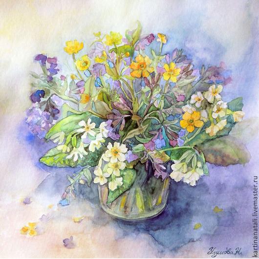 Картины цветов ручной работы. Ярмарка Мастеров - ручная работа. Купить Букет первоцветов.. Handmade. Акварель, цветы, цветочный, букет
