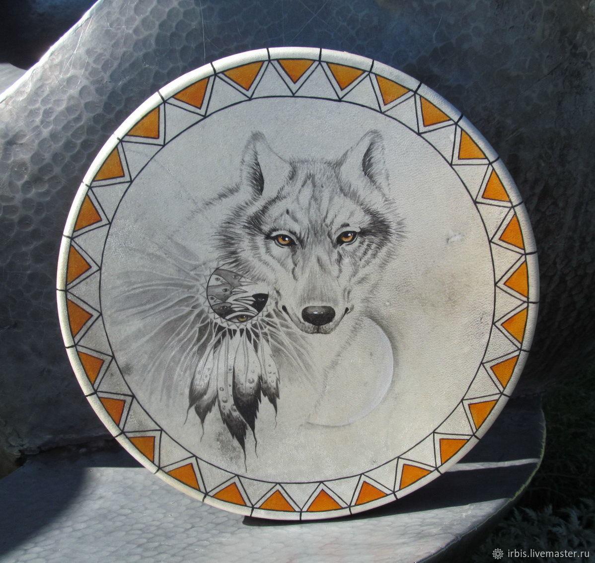 Бубен кожаный шаманский. Белый волк. 45 см, Бубны, Красноярск,  Фото №1