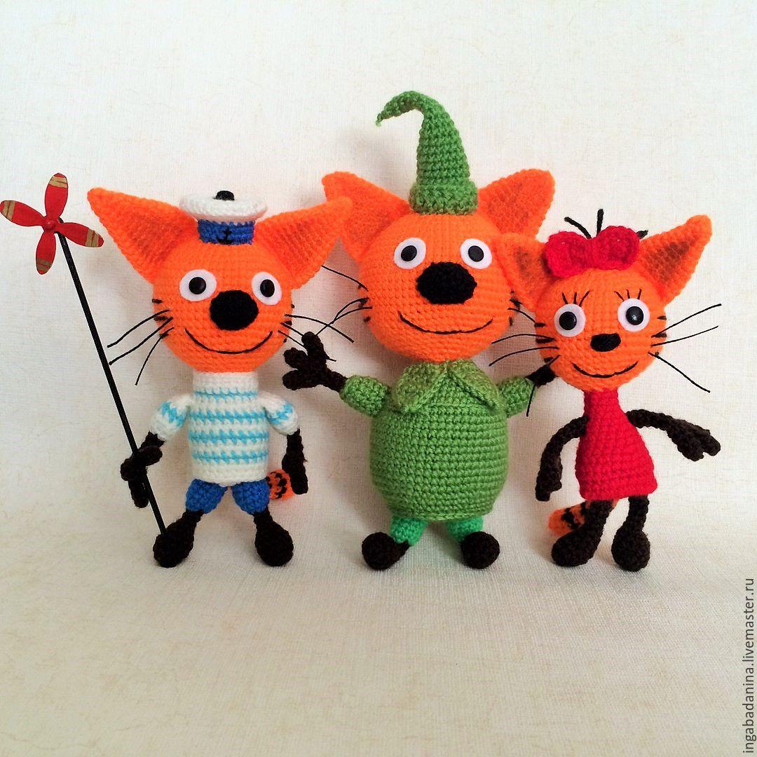 Три кота -вязаные игрушки – заказать на Ярмарке Мастеров ...