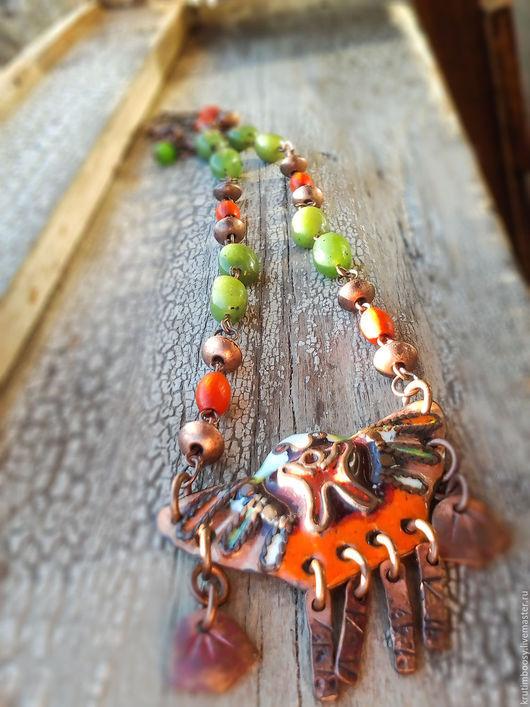 """Колье, бусы ручной работы. Ярмарка Мастеров - ручная работа. Купить Маленькое ожерелье с подвеской """"Птаха"""". Handmade. Ожерелье, эмаль"""