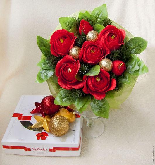 Букеты ручной работы. Ярмарка Мастеров - ручная работа. Купить Рождество. Handmade. Ярко-красный, конфетные букеты, букет цветов