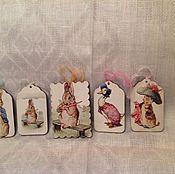 """Для дома и интерьера ручной работы. Ярмарка Мастеров - ручная работа Пасхальные картинки """"Пасхальные кролики"""". Handmade."""