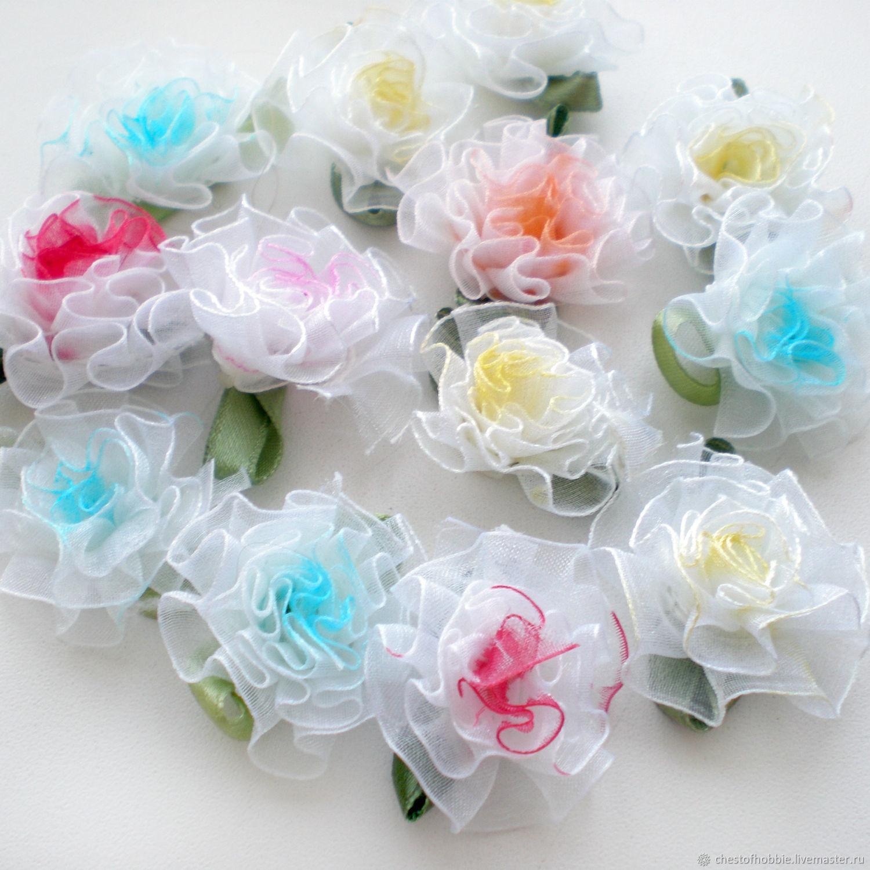 Цветок из органзы мягкий - Ярмарка Мастеров - ручная