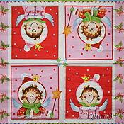 Материалы для творчества handmade. Livemaster - original item Copy of Napkins for decoupage angel Cupid fairies print boy and girl. Handmade.
