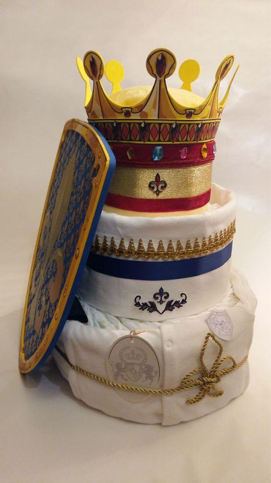 Подарки для новорожденных, ручной работы. Ярмарка Мастеров - ручная работа. Купить Торт из подгузников для маленьких королей. Handmade. Подарок малышу