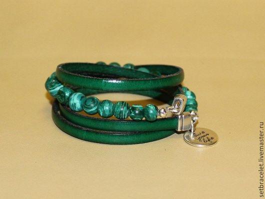 Браслеты ручной работы. Ярмарка Мастеров - ручная работа. Купить Кожаный браслет из кожи зеленой, шнур 5мм, малахит. Handmade.