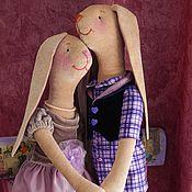 парочка зайцев текстильных Сиреневая Пара