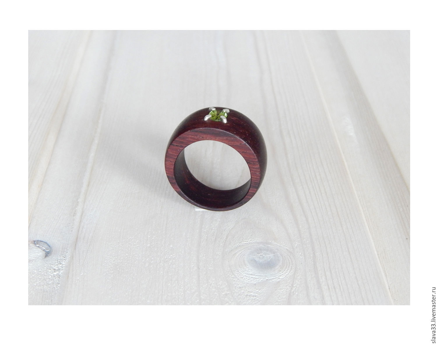 Wooden ring with peridot, size 18, Rings, Vladimir,  Фото №1