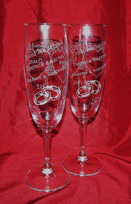 Бокалы, стаканы ручной работы. Ярмарка Мастеров - ручная работа. Купить Свадебные бокалы для шампанского. Handmade. Серебряный, бокалы для шампанского