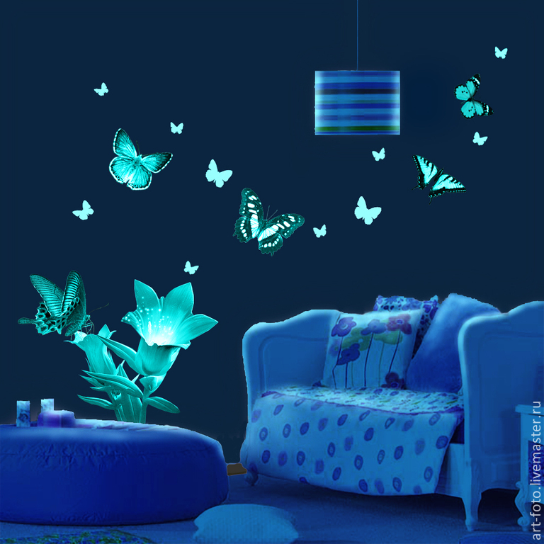 Luminous vinyl stickers - Butterflies and flowers. For walls and ceilings, Interior elements, Sterlitamak,  Фото №1
