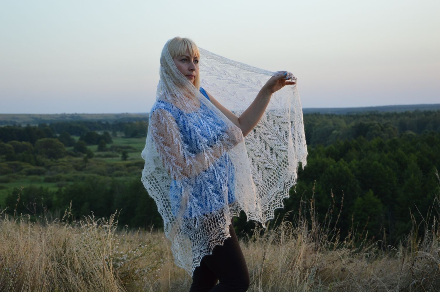 Stole knitted 'Winter tenderness' downy, Wraps, Urjupinsk,  Фото №1