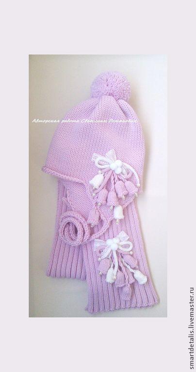 Шапки и шарфы ручной работы. Ярмарка Мастеров - ручная работа. Купить Вязаный шерстяной  комплект для девочки. Handmade. Розовый