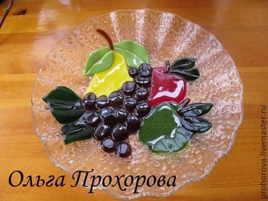 """Тарелки ручной работы. Ярмарка Мастеров - ручная работа. Купить Тарелка """"фрукты"""". Handmade. Разноцветный, стекло для фьюзинга, фрукты, подарок"""