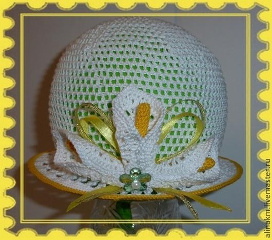 """Шапки и шарфы ручной работы. Ярмарка Мастеров - ручная работа. Купить Панама-Шляпка """"Каллы"""". Handmade. Белый, шляпка для девочки"""