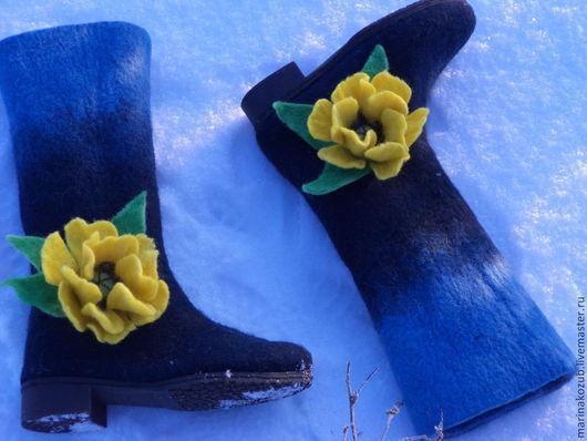 Обувь ручной работы. Ярмарка Мастеров - ручная работа. Купить валенки Орхидея. Handmade. Валенки из шерсти, на подошве, синий
