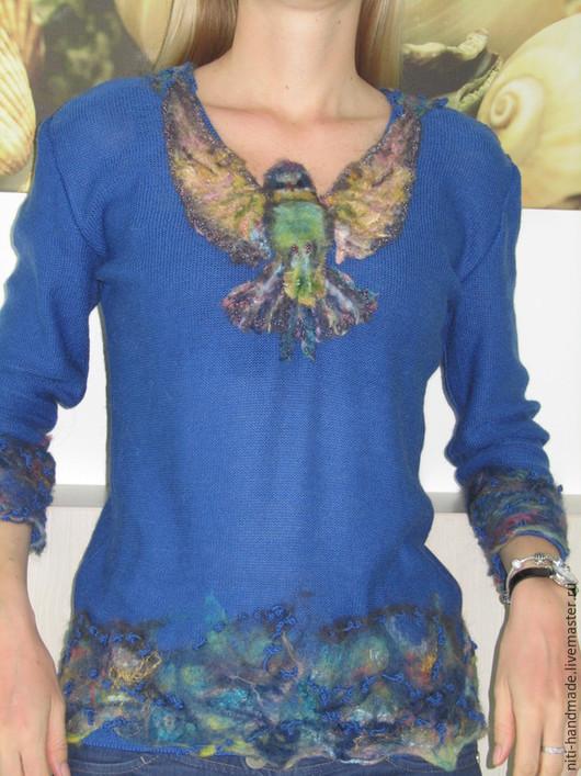"""Кофты и свитера ручной работы. Ярмарка Мастеров - ручная работа. Купить Джемпер """"Голубая птичка"""". Handmade. Голубой, джемпер женский"""