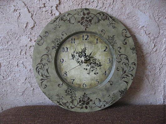 """Часы для дома ручной работы. Ярмарка Мастеров - ручная работа. Купить Вариант часов """"Стильные"""". Handmade. Хаки, часы декупаж"""
