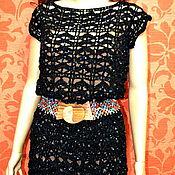 Одежда ручной работы. Ярмарка Мастеров - ручная работа платье вязаное Чёрный бархат. Handmade.
