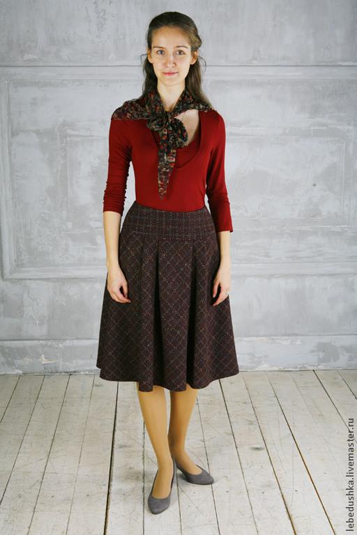 Теплая юбка миди купить