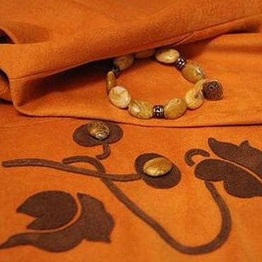 Одежда ручной работы. Ярмарка Мастеров - ручная работа Юбка из замши цвета охры. Handmade.