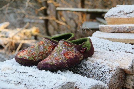 Обувь ручной работы. Ярмарка Мастеров - ручная работа. Купить Тапочки - Розовые Сны. Handmade. Бордовый, уютный подарок
