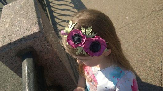 Цветы ручной работы. Ярмарка мастеров - ручная работа. Анемон из кожи. Купить ободок из кожи `Розовый сад`.