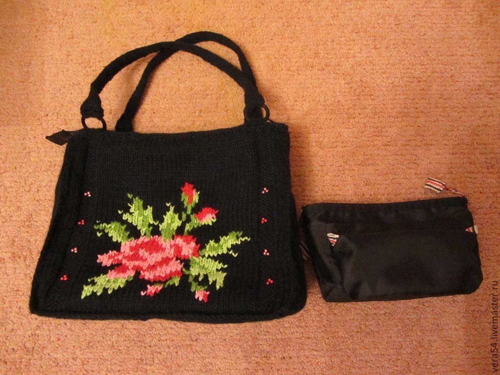 Браслеты ручной работы. Ярмарка Мастеров - ручная работа. Купить Вязаная сумка 'Роза' в комплекте с органайзером. Handmade. Черный, оригинальная