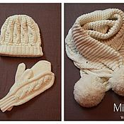 Аксессуары handmade. Livemaster - original item Knitted set Бульденеж, knitted hat, scarf, mittens.. Handmade.