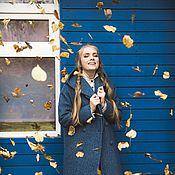 Одежда ручной работы. Ярмарка Мастеров - ручная работа Пальто зимнее на утеплителе с капюшоном Худи зима синее букле зимнее. Handmade.