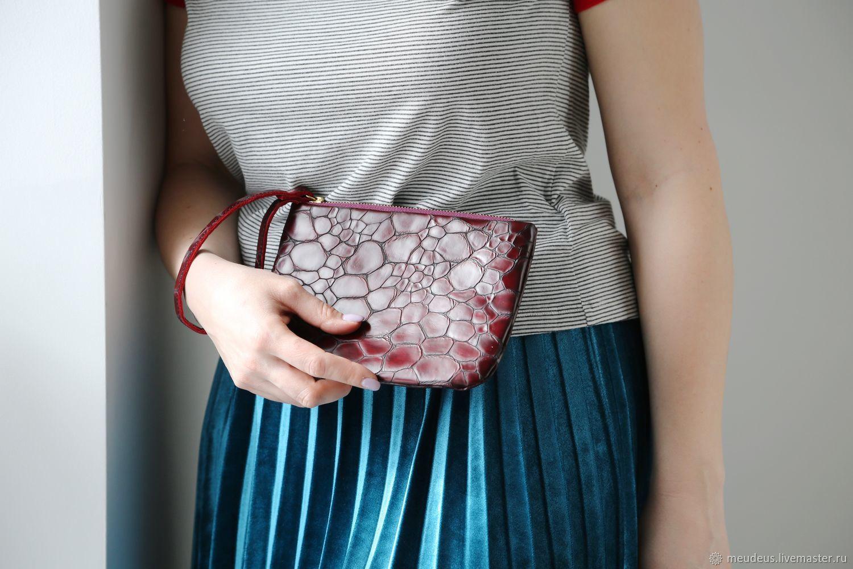 Handbags handmade. Livemaster - handmade. Buy Clutch of Burgundy leather 'Stones' art. Four hundred seventy one.