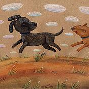 """Картины ручной работы. Ярмарка Мастеров - ручная работа Иллюстрация """"Собачки"""". Handmade."""