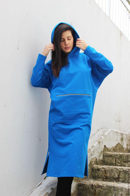 """Верхняя одежда ручной работы. Ярмарка Мастеров - ручная работа. Купить Спортивное пальто """" Zippers & Hood Blue""""  B0031. Handmade."""