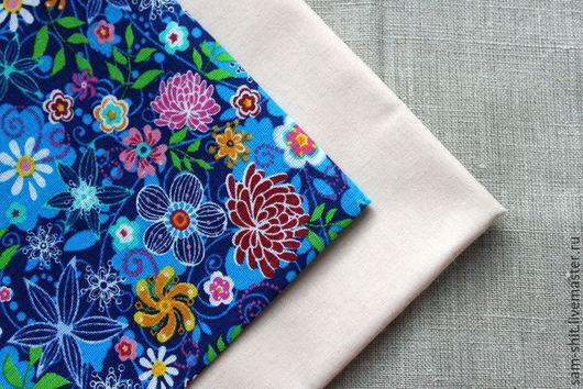 Шитье ручной работы. Ярмарка Мастеров - ручная работа. Купить Ткань хлопок цветы 50х75 см. Handmade. Голубой