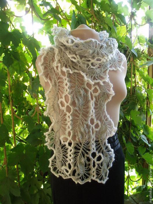 Шарфы и шарфики ручной работы. Ярмарка Мастеров - ручная работа. Купить шарф из мохера Серый и белый. Handmade. Орнамент