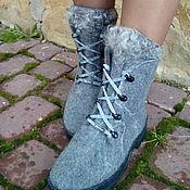 Обувь ручной работы. Ярмарка Мастеров - ручная работа Сапожки зимние шерстяные Зимнее Небо. Handmade.