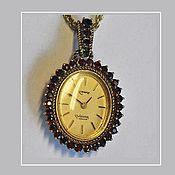 Винтаж ручной работы. Ярмарка Мастеров - ручная работа SALE 3 дня! Кулон-часы с богемскими гранатами. Handmade.