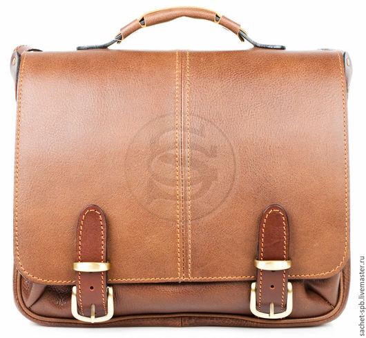 """Мужские сумки ручной работы. Ярмарка Мастеров - ручная работа. Купить Кожаный портфель """"Сорбонна"""" светло- коричневый. Handmade. Коричневый"""
