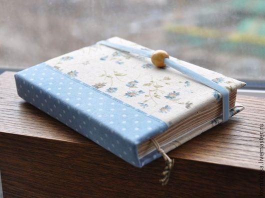"""Блокноты ручной работы. Ярмарка Мастеров - ручная работа. Купить Блокнот """"Нежное утро"""".. Handmade. Голубой, лен, в горошек"""
